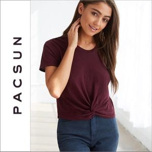 PacSun Me To We Burgundy Front Tie Tee Shirt
